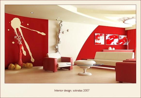rot-Wohnzimmer-design