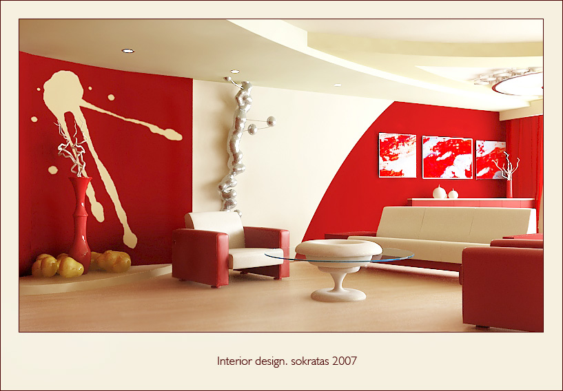 Red Living Room Design
