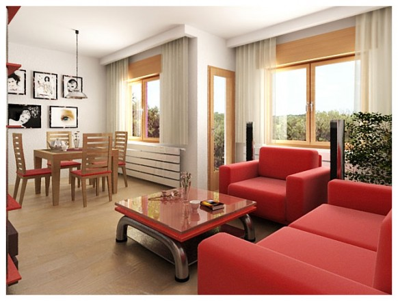 rote sofa setzt