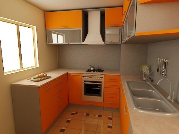kleine Küche orange