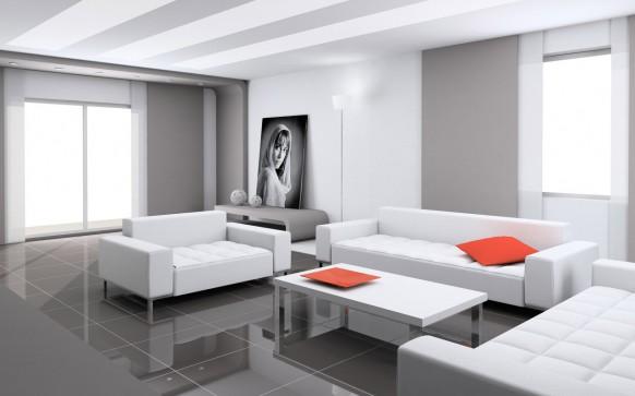 weiß Wohnzimmer Dekor