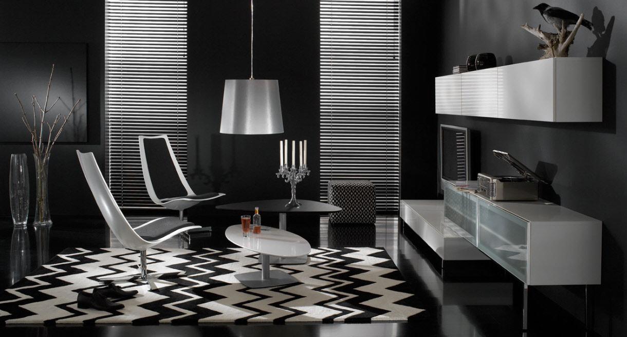 Black And White Modern Furniture Black Living Room And White Modern