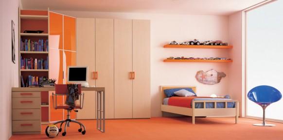 Creme-orange-Bett-Zimmer