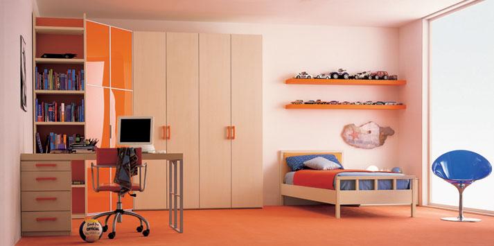 Cream orange bed room