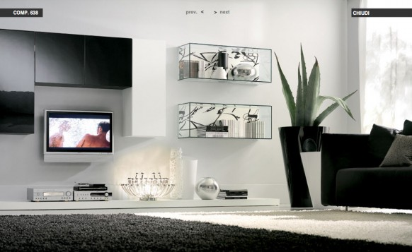 Glas-Regale-weiße-Wohnzimmer