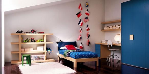 Marine-blau-Bett-Zimmer