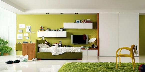 Bleistift-grün-gelb-Schlafzimmer