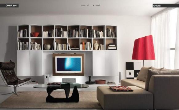 rot-Creme-Wohnzimmer