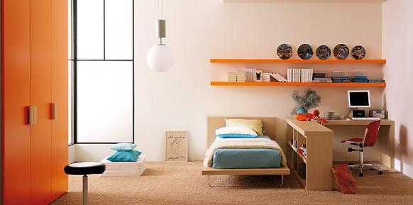 Türkis-orange-Bett-Zimmer