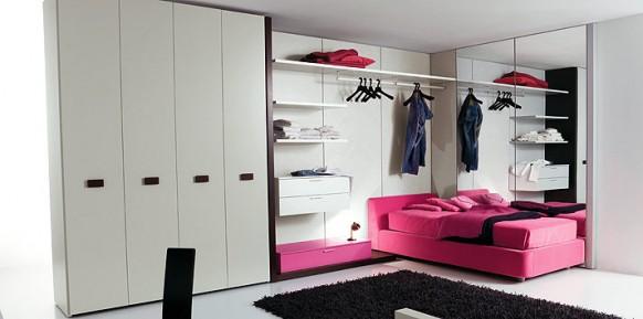 weiß-candy-rosa-Bett-Zimmer