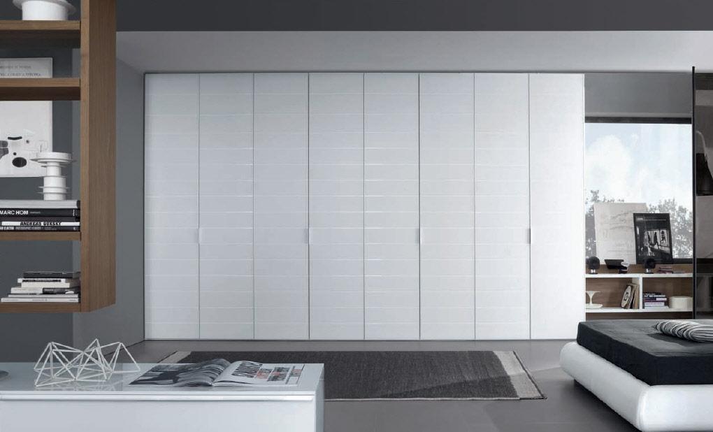 White Stripes Hinged Door Wardrobe