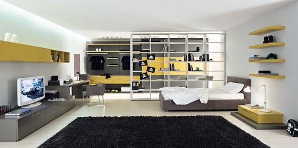 gelb-Grau-Bett-Zimmer