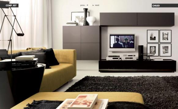 gelb-sofas-schwarz-Teppich-Wohnzimmer