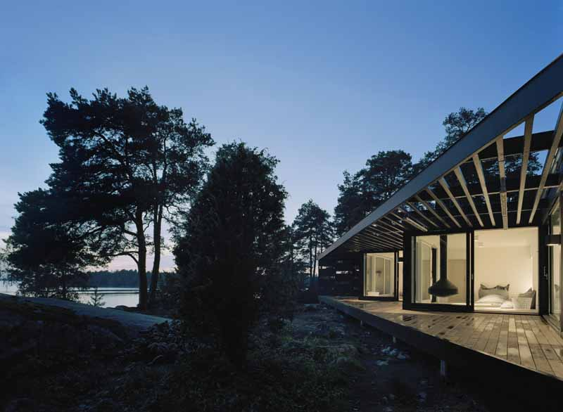 Archipelago house at dusk