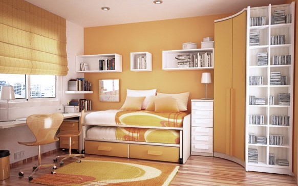 orange und white room