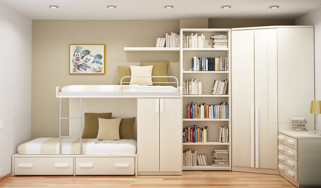 Color coordinated compact room smart ideas for two