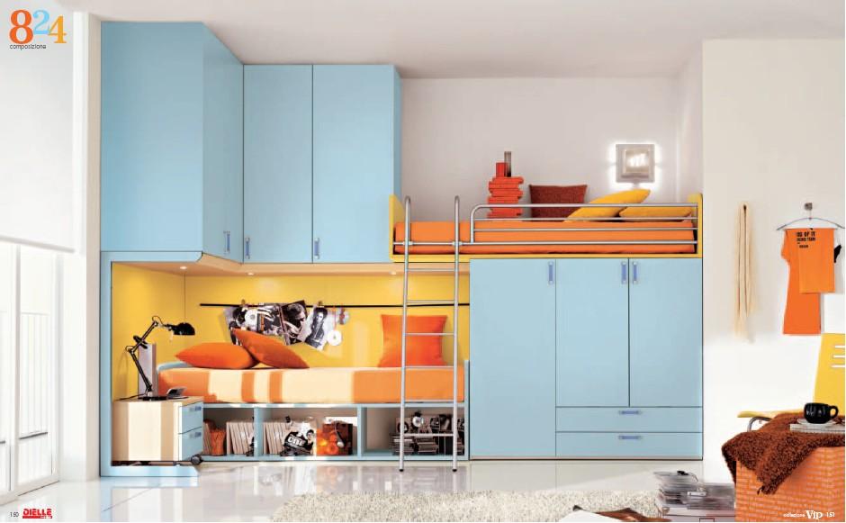 exciting blue orange bedroom ideas | Modern Kids Room Furniture from Dielle