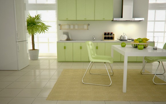 fancy green kitchen