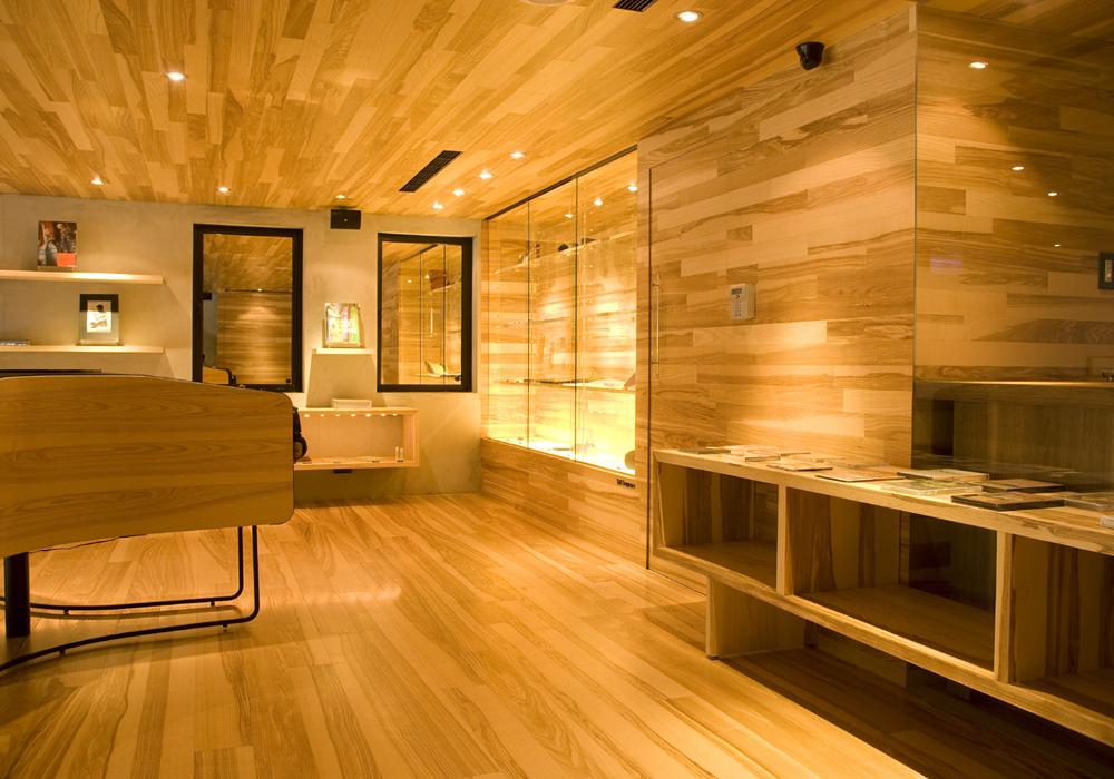 Interiors shoe rack wooden showroom
