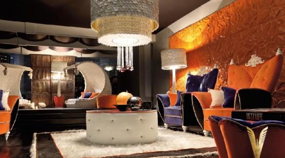 luxuriöses-Interieur-modern-living-in kräftigen Farben
