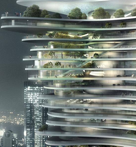 städtischer Wald - Ebenen des Gebäudes