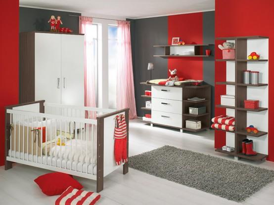 weiß und Holz-baby-Kinderzimmer-Möbel-sets von Paidi 1