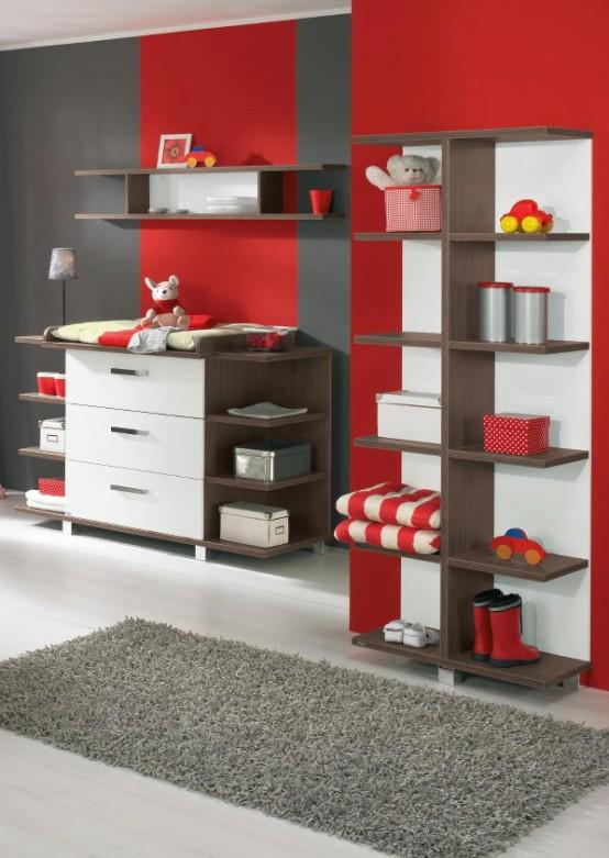 weiß und Holz-baby-Kinderzimmer-Möbel-sets von Paidi 10