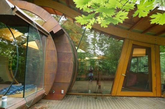 Tree house glass living room