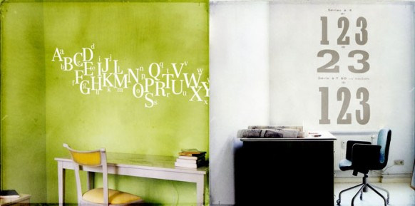 grüne und weiße Wand decal1b