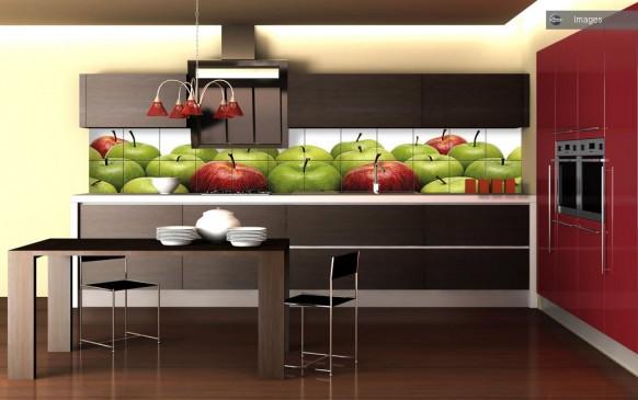 grün rot Apfel-Küche-Fliesen
