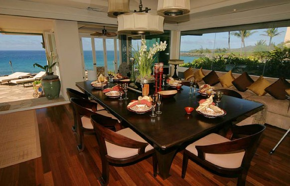 hawaiianische villa dining space