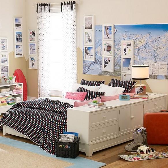 schwarz und weiß Zimmer im Studentenwohnheim