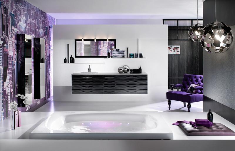 Heavenly Purple Bathroom Interior, Purple Bathroom Decorating Ideas Pictures