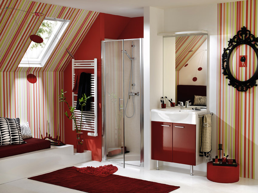 Red bathroom delpha