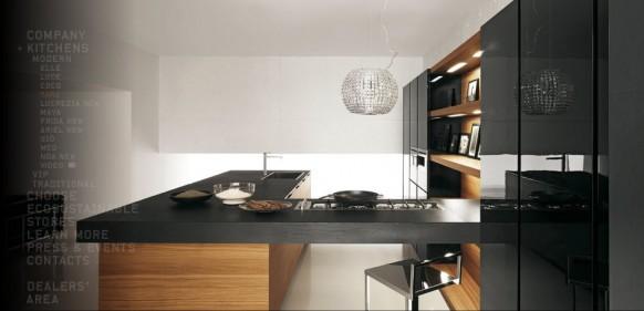 Küche beige schwarz