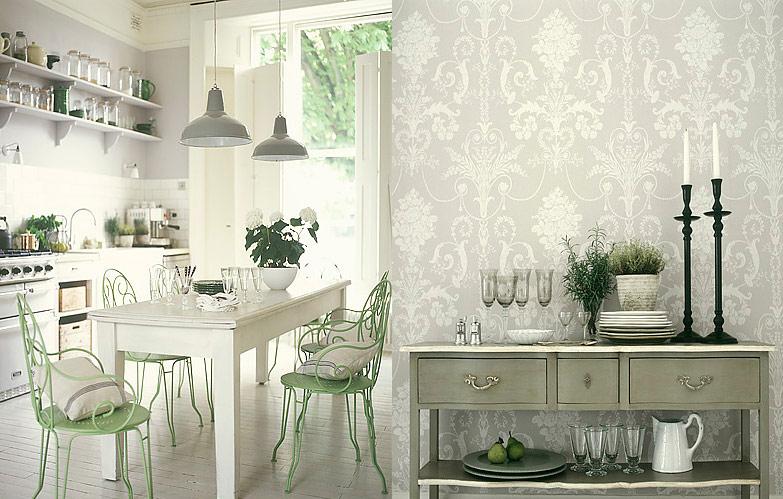 Antique White Kitchen With Jacquard Wallpaper
