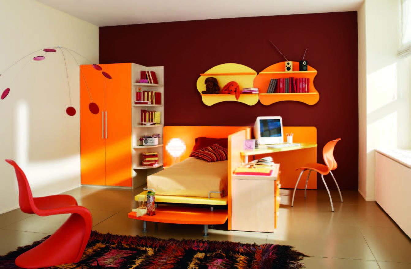 modern orange bedroom design ideas | Fabulous modern themed rooms for boys and girls