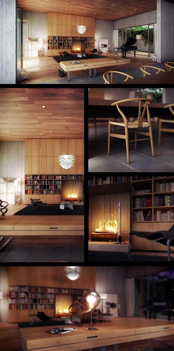 moderne-Wohnzimmer-Holz
