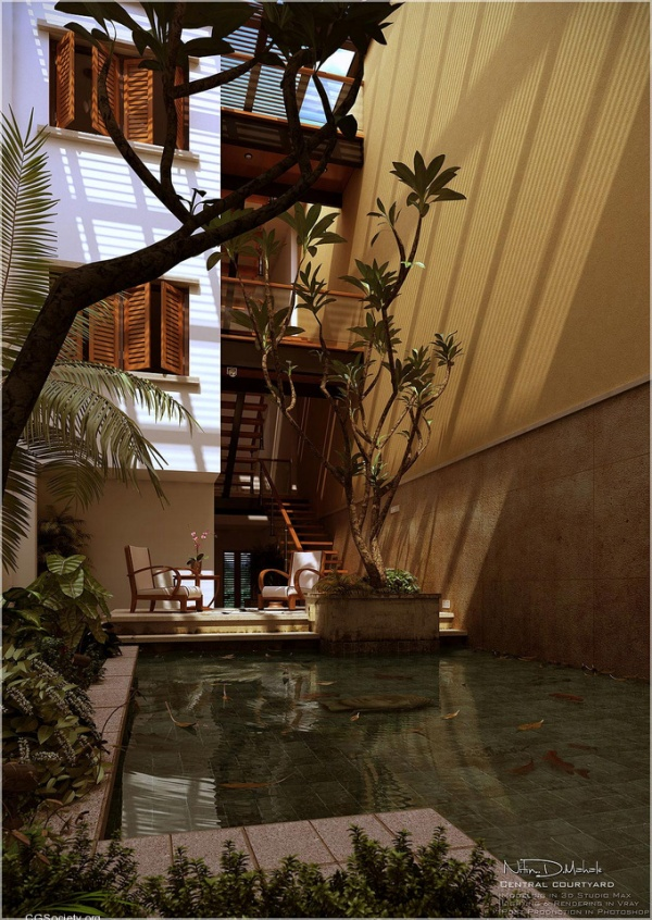 Courtyard design and landscaping ideas for Zen pool design