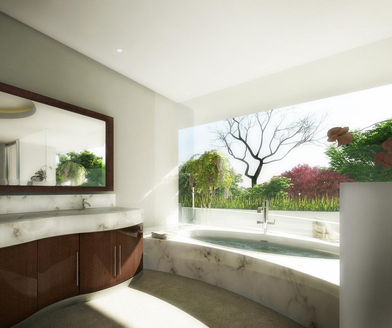 Panoramic View Garden Marble Bathroom
