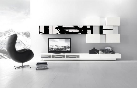 schwarz weiße Schrankwand