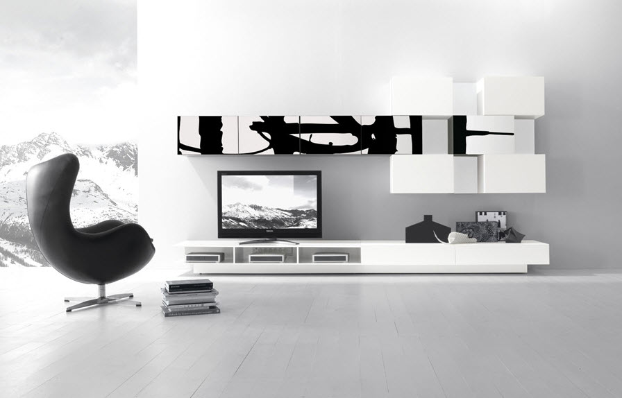 Black white wall unit decorative furniture
