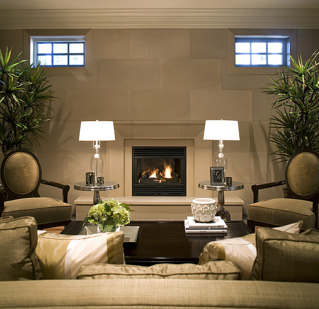 Fireplace mantels and surrounds - Living room with fireplace ...