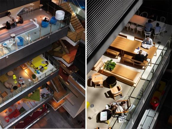 ANZ business Center atrium view farbenfrohe und moderne Büroflächen