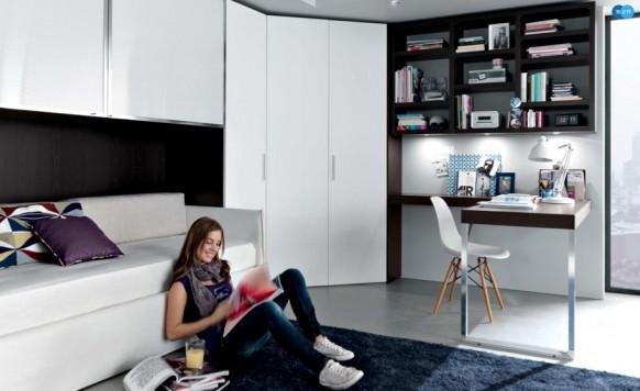 schwarz weiß Moderne Teenager-Zimmer