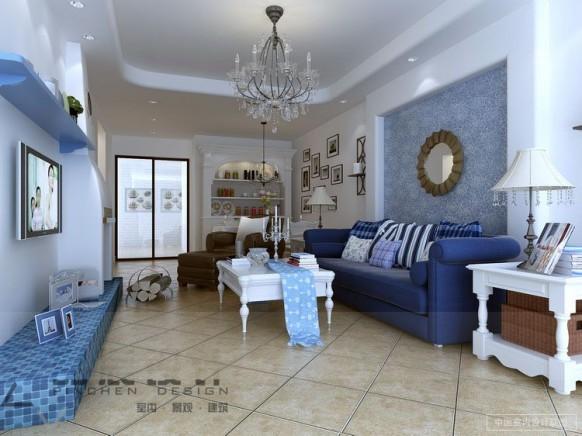 blau-weiß-Wohnzimmer-Kronleuchter chic