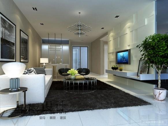 zeitgenössische-Wohnzimmer neutralen shag Teppich