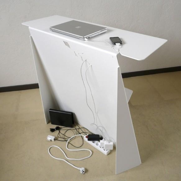 Schreibtisch versteckte Verkabelung