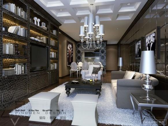 glamourös-Wohnzimmer-Regale Speicher-Kronleuchter