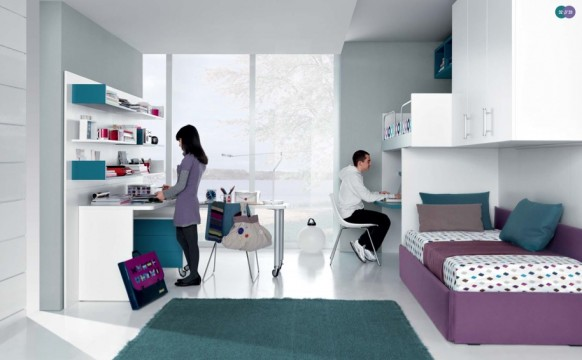 jade lila-weiße Moderne Teenager-Zimmer geteilt